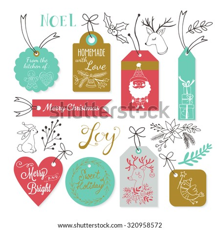 Christmas gift tags design with hand drawing elements. Vector illustration - stock vector