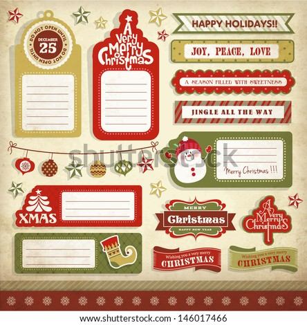 Christmas gift tags, labels & stickers - stock vector