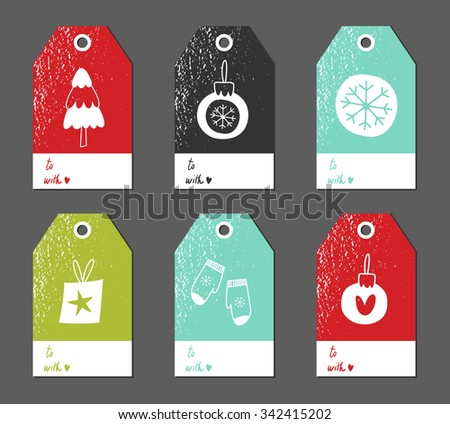 Christmas gift tags set. Vector illustration. Creative Hand Drawn textures for winter holidays. Bright colors. Tree. Mittens. Snowflake. Gift.  - stock vector