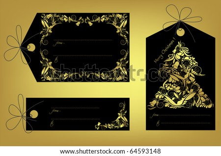 Christmas gift tags, vector - stock vector
