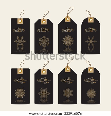 Christmas gift tags with hand drawn decorative elements.  Gold snowflakes on black background. - stock vector