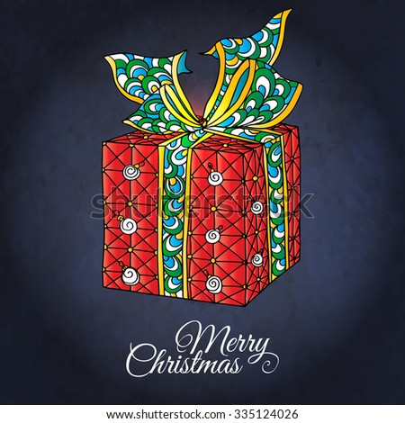 """Christmas gift. Vector hand drawn decorative colored illustration with pattern and """"Merry Christmas"""" text. It may be used for design of a t-shirt, bag, postcard, a poster. In zentangle style. Colored  - stock vector"""