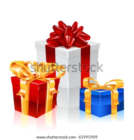Christmas gifts. New year vector. - stock vector