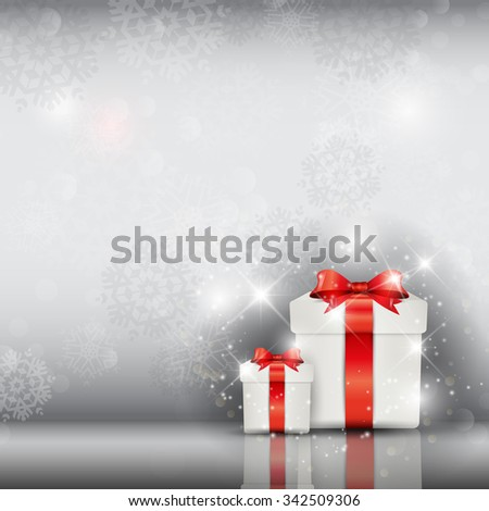 Christmas gifts on a silver snowflake background - stock vector