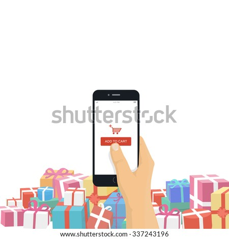 Christmas gifts online shopping concept. Hand holding mobile phone with add to cart button isolated on white background.  - stock vector