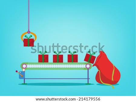 Christmas Gifts production Assembly Plant for mass distribution - stock vector