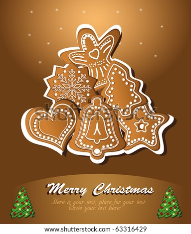 Christmas gingerbread  congratulation Brown vector card