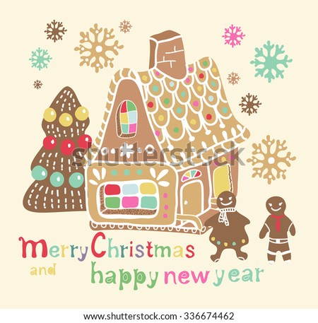 Christmas gingerbread house with different elements for beautiful holiday design, vector - stock vector