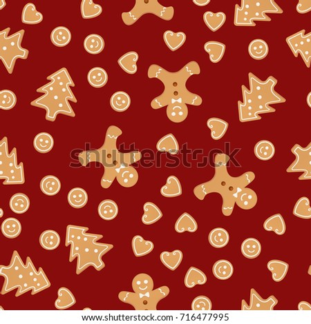 Christmas Gingerbread Man And Cookies Seamless Pattern
