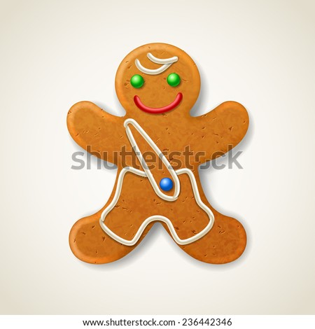 Christmas gingerbread man, decorated colored icing - stock vector