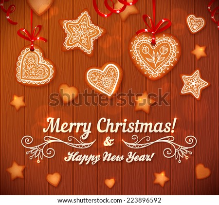 Christmas gingerbread stars and hearts vector greeting card on wooden background - stock vector