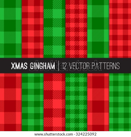 Christmas Gingham and Buffalo Check Plaid Patterns. Two-tone Red and Green Pixel Gingham Patterns. Trendy Hipster Style Xmas Textures. Vector EPS File Pattern Swatches made with Global Colors. - stock vector