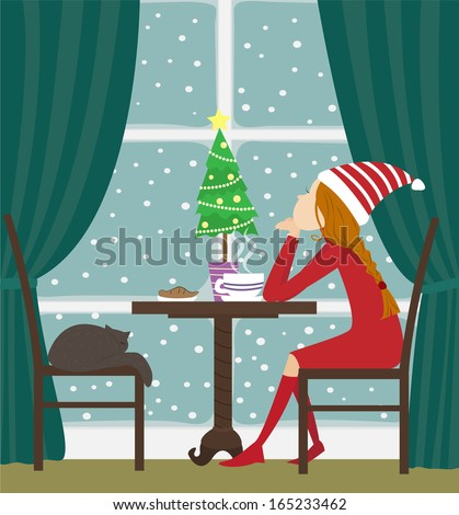 Christmas girl sitting at the table and looks out of the window. Vector Illustration. - stock vector