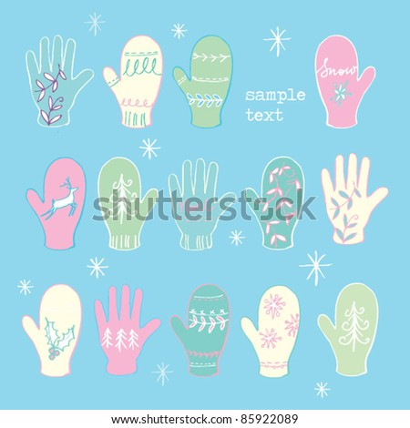 Christmas gloves and mittens vector - stock vector