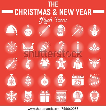 Christmas Glyph Icon Set New Year Symbols Collection Vector Sketches Logo Illustrations
