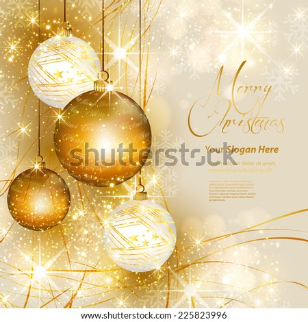 Christmas gold background, easy all editable - stock vector