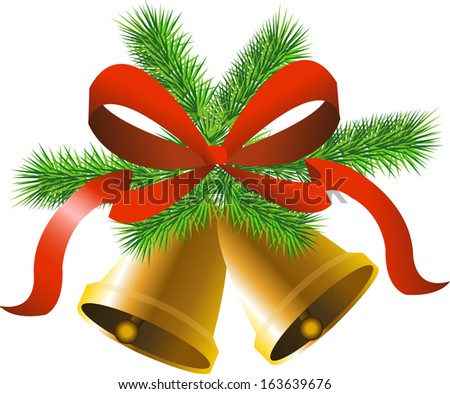 Christmas gold bells with tree, bow and tree - stock vector