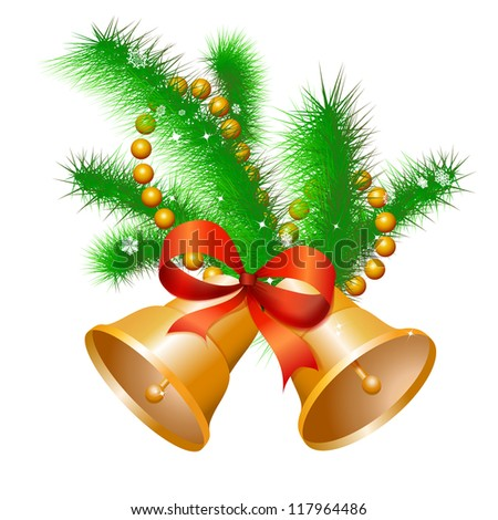 Christmas gold hand bells with a red bow on a fir-tree branch. Vector. eps 10 - stock vector