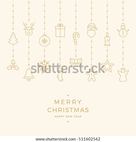 christmas gold icon elements hanging background