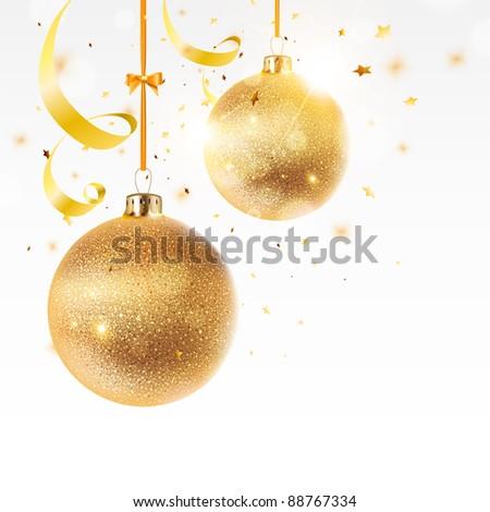 Christmas golden background - stock vector