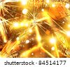 Christmas golden background with bokeh, stars and tinsel - stock vector