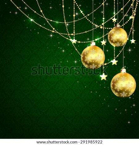 Christmas golden balls, stars and decorative elements on green wallpaper, illustration. - stock vector