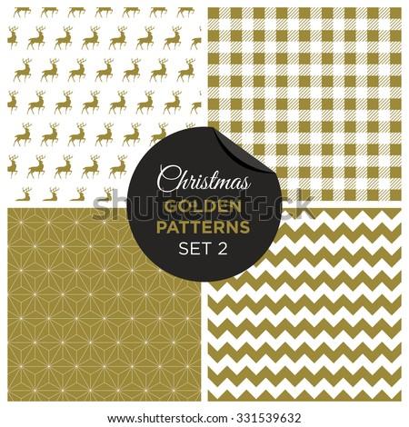 Christmas golden patterns set 2. Editable vector design. - stock vector