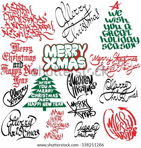 Christmas graffiti and tags - stock vector