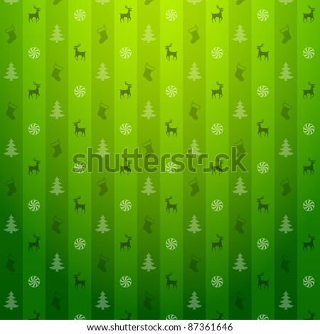 Christmas green background. Pattern with deers and christmas tree - stock vector