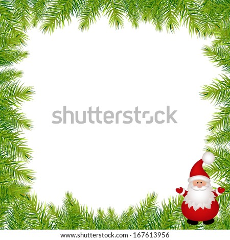 Christmas Green Framework With Santa Claus, With Gradient Mesh, Vector Illustration