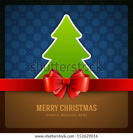 Christmas green tree and bow background. Vector illustration Eps 10.  - stock vector