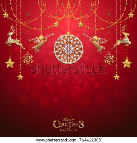 Christmas greeting new years card templates stock vector hd royalty christmas greeting and new years card templates with gold patterned and crystals on background color m4hsunfo