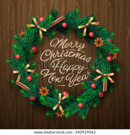 Christmas greeting card and background. Christmas wreath with garlands, Merry Christmas and Happy New Year lettering. Vector - stock vector