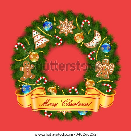 Christmas greeting card and background with Christmas wreath with Christmas gingerbread cookies and Merry Christmas lettering. Vector illustration. - stock vector
