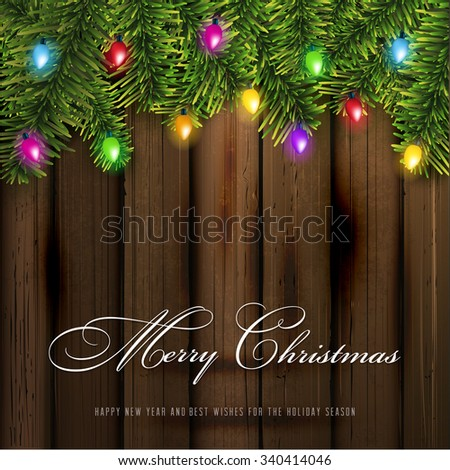 Christmas Greeting Card and lights.Vector - stock vector