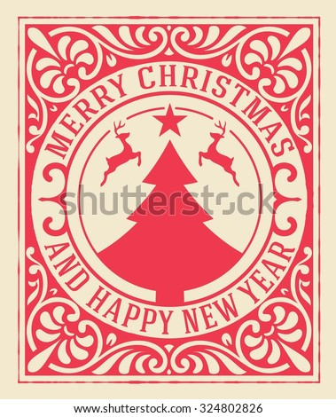 Christmas greeting card background. vintage ornament decoration with Merry Christmas holidays and Happy new year message.  - stock vector