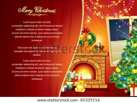 Christmas Greeting Card, Background with decorated Interior, Christmas tree, Festive Fireplace, vector illustration with copy space - stock vector