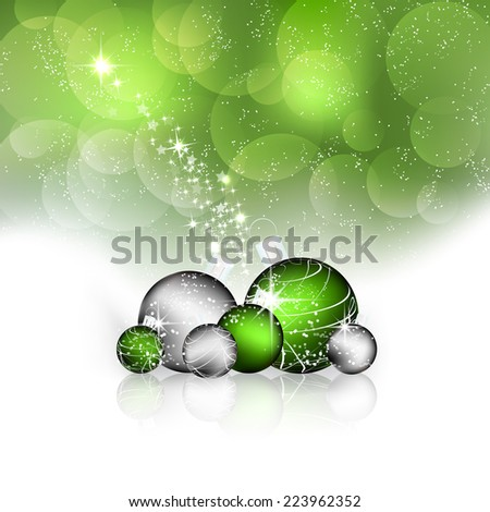 Christmas greeting card, background with green and silver balls, stars, bubbles and decoration - stock vector
