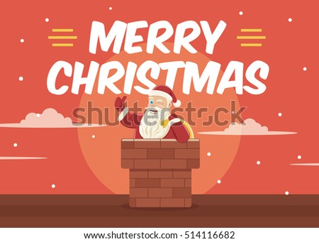 Christmas Greeting Card Background with Santa Clause in Chimney