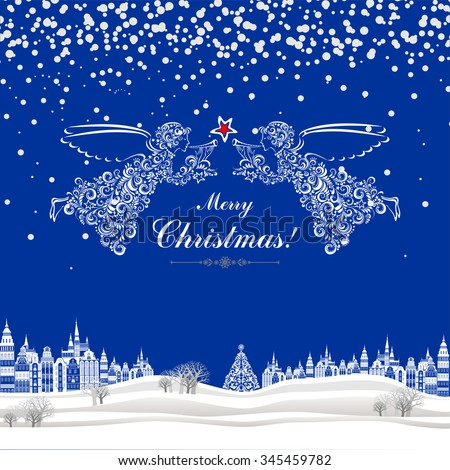 Christmas greeting card. Celebration background with Angels, Christmas star, Christmas tree, Beautiful winter landscape and place for your text. Vector illustration - stock vector