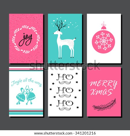 Christmas Greeting Card Collection. Hand drawn design for winter holiday gift tags, stickers and labels, calendars, posters, prints, invitations. - stock vector