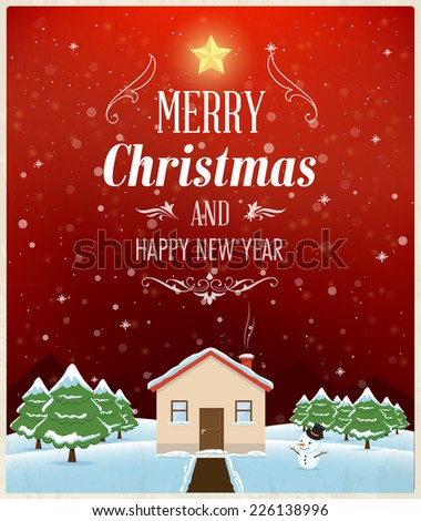 Christmas greeting card design, background and texture. Vector landscape - stock vector
