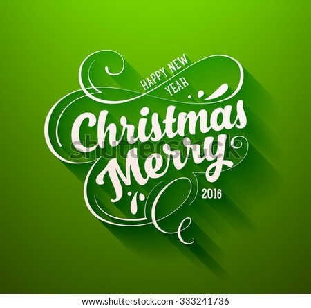 Christmas Greeting Card Design. Holiday Typographic and Calligraphic Elements. - stock vector