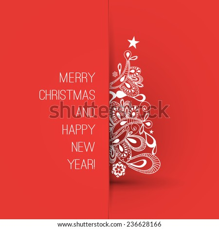 Christmas Greeting Card Design Template - stock vector