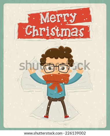 Christmas greeting card design. Vector illustration - stock vector
