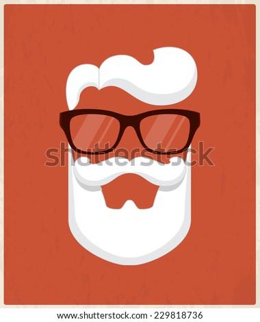 Christmas greeting card design. Vector Santa beard and glasses illustration - stock vector