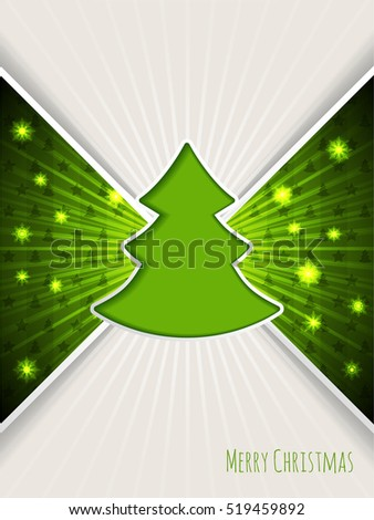 Christmas greeting card design with bursting green christmas tree