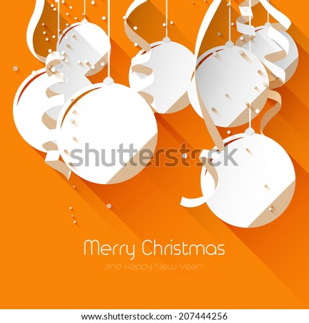 Christmas greeting card - flat design style - stock vector