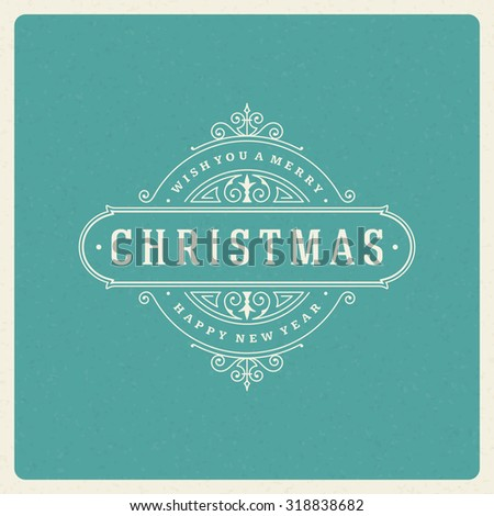 Christmas greeting card flourishes ornament decorations background. Vector illustration. Happy new year message wish. - stock vector