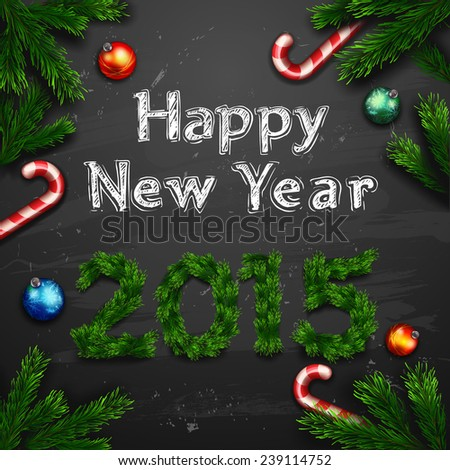 Christmas greeting card. Happy new year - stock vector